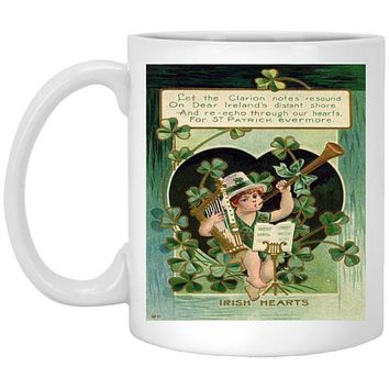 Irish Coffee Mug, Vintage 1900's Irish Art Irish Hearts, 11 or 15 oz St Patrick's Day Gift