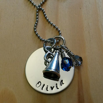 Hand Stamped Cheer Necklace Cheerleading Necklace - with Team Colors - Girls Cheerleading Gifts