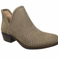 Lucky Brand Baley Brindle Suede Perforated Chop Out Booties