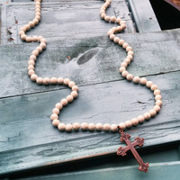 48 Inch White TURQUOISE Necklace with Cross 112F