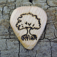ONE ENGRAVED Wooden Guitar Pick - Tree Design or Other Designs Available