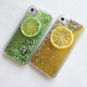 For iPhone 6 7 8 6s 78 plus Glitter Quicksand Case 3D Summer Fresh Fruit Mobile Phone Shell For iPhone 6 Plus 6s Plus Hard Cover