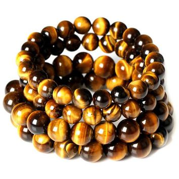 2017 Natural Stone Beads Tiger Eye Bracelet Buddha Charm Bracelets & Bangle Mew Men 6mm 8mm 10mm 12mm Lava Stone Jewelry