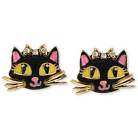 Betsey Johnson Antique Gold-Tone Cat Stud Earrings