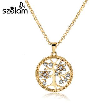 SZELAM Tree of Life Pendant Necklace for Women Gold Crystal Fashion Necklaces Pendants SNE160107