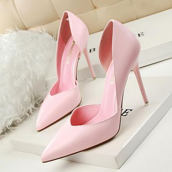 ---Summer Shoes Women Elegant Pumps Pointed Sexy Club Ultra Thin High Shoes High-heeled Shoes Hollow Sweet Stiletto Single shoes