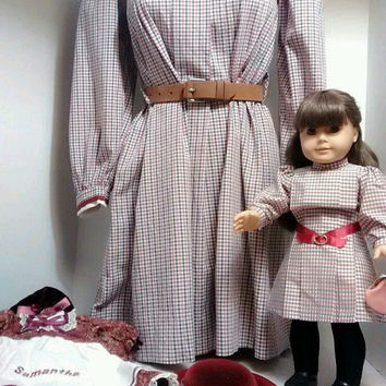 "Pleasant Co. American Girl 18"" Samantha RETIRED Including ""Meet"" Accessories + Matching Girl's Size 10 Dress & Bonus 18"" Samantha Outfit"