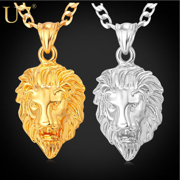U7 Hip Hop Big Lion Head Pendant & Necklace Animal King Vintage Black Gold Plated Hiphop Chain For Men Women Jewelry Gift P333