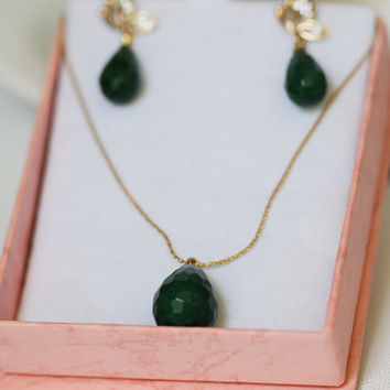 Necklace with Gold Filled Long Chain and Green Faceted Jade Pendant