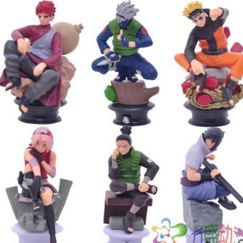 Naruto Sasauke ninja 6pcs/set   action figure toys simulation animation toys doll models ornaments 6 different scenes action toy figures AT_81_8