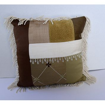 Custom Hand Made 18 x 18 Pillow Cover with Fringe & Beads Brown, Gold, Cream & Olive Patchwork
