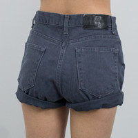 Vintage (Size Medium) Gray Cuffed High Waisted Denim Shorts