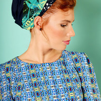 Dark Blue head scarf – Floral headcovering  – Hair snoods –  Headpiece with dots