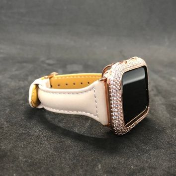 38mm/40mm 42mm/44mm Apple Watch Series 1 2 3 4 Women Mens Iced Out Rose Gold/Bezel Case Cover Pave Lab Diamonds Rhinestone Band Iwatch Bling