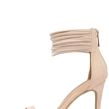 Bold Beauty Nude Suede Ankle Strap Heels