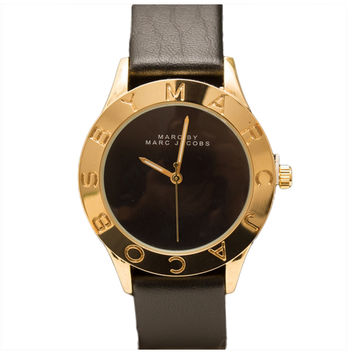 Marc By Marc Jacobs MBM9057 Women's Black Dial Yellow Gold Steel Black Leather Strap Watch