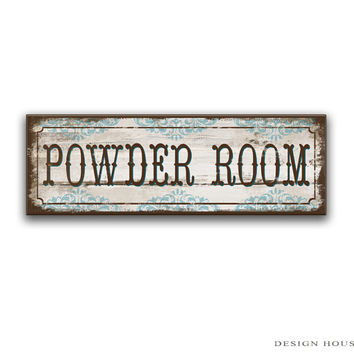 "Powder room handmade wooden sign powder room decor powder room plaques h restroom signs restroom decor restroom plaques 18.5""x6""x3/4"""