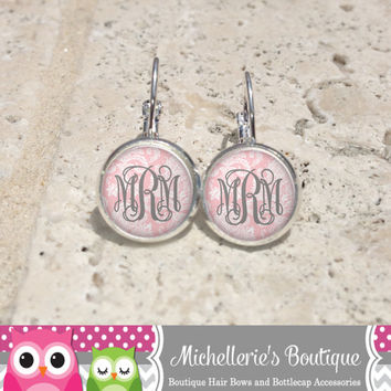 Shabby Chic Peony Pink Damask Monogram Earrings, Monogram Jewelry, Monogram Accessories, Monogram Studs, Monogram Leverbacks, Gifts