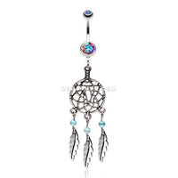Classic Pewter Dream Catcher Belly Ring (Aurora Borealis)