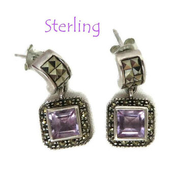 Sterling 925 Amethyst Glass Earrings, Vintage Dangling Pierced Studs