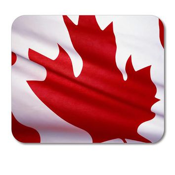 "DistinctInk Custom Foam Rubber Mouse Pad - 1/4"" Thick - Red White Canadian Flag Canada"