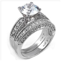 Sterling Silver Round cut CZ Vintage Style Thick Band Pave Set Wedding Ring set size 5-9