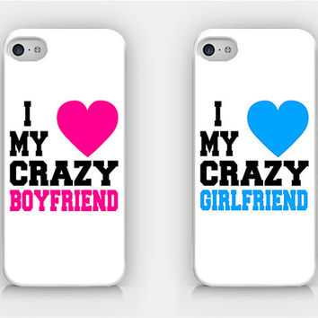 I Love My Crazy Boyfriend / Girlfriend - Couple Cases - Full printed case for iPhone - by HeartOnMyFingers - CPL-013