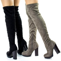 Gaby14s OTK Over Knee Thigh High Pull-On Slouch Suede Boots w Threaded Lug Sole