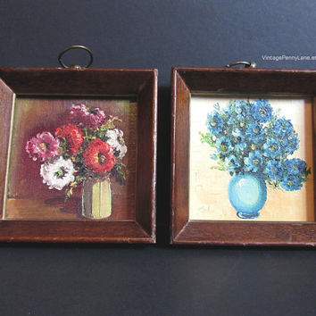 Framed Vintage Oil Paintings on Canvas, Floral Still Life, Boho / Bohemian Decor, Wall Hangings