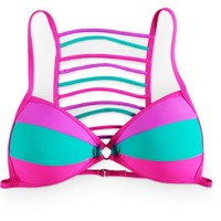 Damsel Manic Colorblock Ladder Back Molded Cup Bikini Top