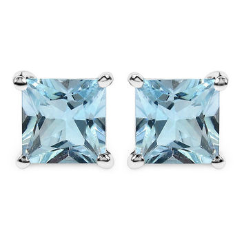 6.00 Carat Genuine Blue Topaz .925 Sterling Silver Earrings