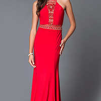Dave and Johnny Red Beaded Top Sheer Cut Out Prom Dress