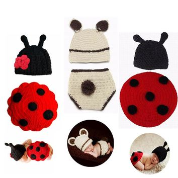 3D Cute Cartoon Newborn Infant Knitted Red and Black Ladybug Shape Baby Suit Crochet Clothing Cloak Photography Custume