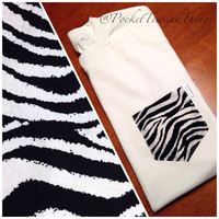 Zebra Pocket Tee Size Unisex Adult Small by PocketTeesandThings