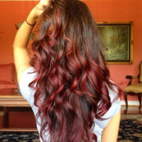 "Ombre Hair Extensions, Medium Brown Ombre Hair and Subtle Paprika Red Fade,(7) Pieces,20"",Custom your order"