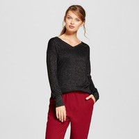 Women's Allover Shine V-Neck Luxe Any Day Pullover - A New Day™