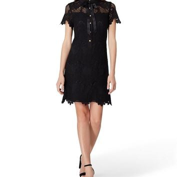 Tahari ASL Tie Neck Lace Shift Dress | Dillard's