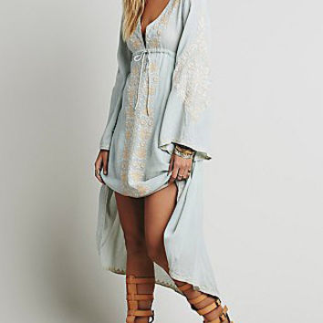 Light Blue V-Neck Bell Sleeve Embroidered Long Back Dress