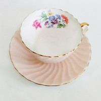 Aynsley Teaup Swirl Chintz Tea Cup Tea Party Pastel Orange Peach Floral China Cabinet Decor Spring Time High Tea Gift for Girls Gift for Her