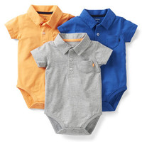 3-Pack Polo Bodysuits