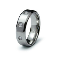 Antonio's Satin Finish Triple CZ Stainless Steel Men's Ring - Final Sale