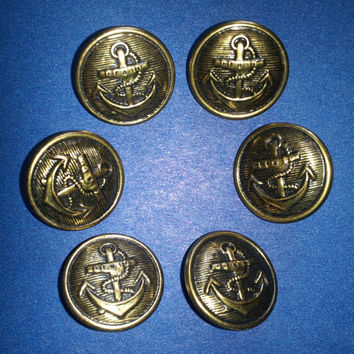 """6 Anchor Pattern Nautical Buttons Antique Gold 3/4"""" 19 mm"""