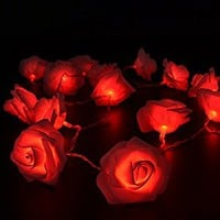 Tanbaby LED Battery Operated Rose Flower String Lights 20LED Wedding Garden Party Christmas Decoration (Red)