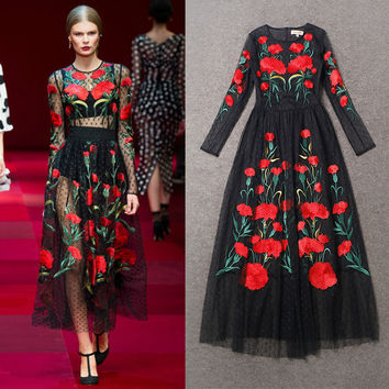 High Quality 2016 Summer And Autumn New Fashion Runway Models Heavy Gauze Embroidered Long-Sleeved Long Dress