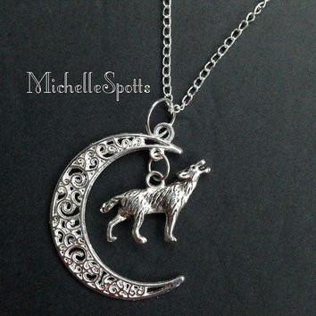 Crescent Moon Wolf Necklace Crescent Wolf Necklace Charm Bracelet