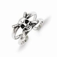 Sterling Silver Antiqued Skull Toe Ring