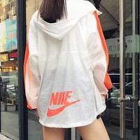 NIKE Popular Women Men Hoodie Zipper Cardigan Sweatshirt Jacket Coat Windbreaker Sportswear White Orange I-AA-XDD