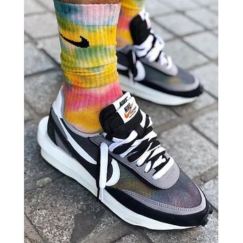 Sacai X Nike LVD WAFFLE joint deconstruction hit color running shoes Grey+White soles