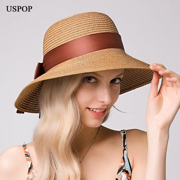 USPOP 2018 New Fashion women straw sun hat female wide brim bowknot ribbon straw bucket hats casual summer shade beach hat