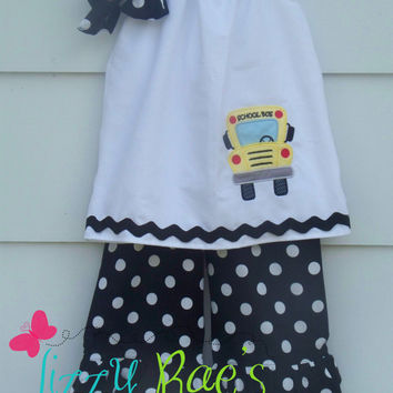 "Back to School Ruffle Pants Outfit- Girls sizes 12M-10- Free 4"" Boutique Bow"